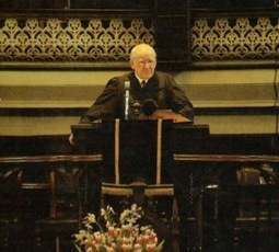 Dr. Martin Lloyd-Jones preaching at Westminster Chapel, London, England.