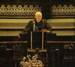 Dr. Martin Lloyd-Jones preaching at Westminster Chapel, London, England.
